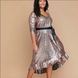 Lane Bryant Rose Gold Sequin Faux Wrap Dress 18/20